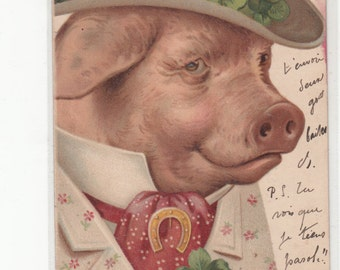 Gentleman Pig Wears An Antique Waistcoat, With Horseshoes Hat W A Band Of Clover A Fine Man