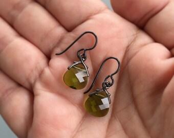 Briolette Earrings, Niobium Earrings, Green Earrings, Olive Earrings, Hypo Allergenic Earrings, Small Dangle Earrings