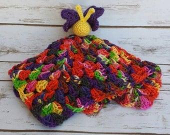 Butterfly Blanket Lovey, Amigurumi Butterfly Blanket, Baby Blanket, Crochet Baby Blanket, Crochet Baby Lovey, Crochet Butterfly Blanket