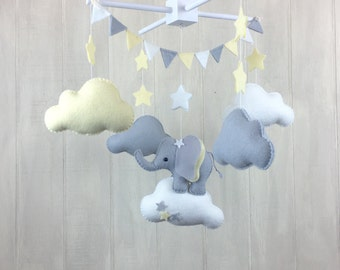 Baby mobile - elephant mobile - cloud mobile yelloe, grey and white - nursery decor - stsr mobile - elephant nursery - gender neutral