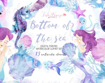 INSTANT DOWNLOAD - Bottom of The Sea Digital Painted Watercolor Clip Art for Scrapbooking, and Web Design - CL0014