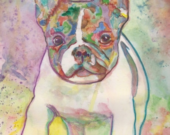 Custom Pet Portrait  Original Watercolor Painting  9x12 inches, Present - Gift Art - Dog Portrait