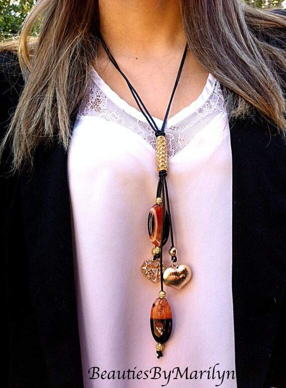 Art culos similares a collar en cuero negro con piedras en agata collar para mujer en cuero y - Collares de cuero ...