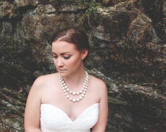 Bridal Necklace, Wedding Necklace, Beaded Necklace, Ivory Necklace, Bridal Jewelry, Vintage Necklace, Vintage Jewelry, Ivory Beaded Necklace