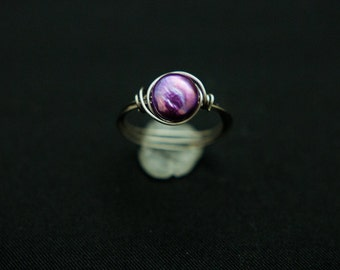 Purple Pearl Wire Wrap Ring