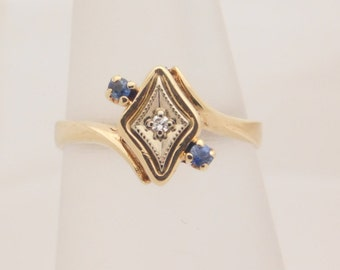 0.10 Carat T.G.W. Ladies Round Cut Blue Sapphire & Diamond Ring 10K