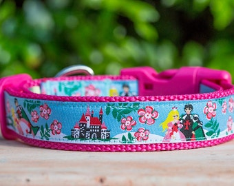 Princess Dog Collar / Fairytale Dog Collar / Australian Made Dog Collar / Pink Dog Collar