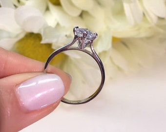 1 ctw Round Brilliant Cut Solitaire Engagement Ring, 4 Prong Cathedral Setting, Simulated Diamond, Bridal Ring, Sterling Silver, Hand Made