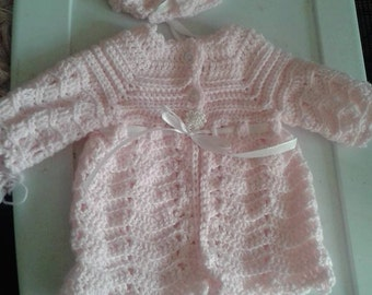 Crochet baby jacket, bonnet, and shoes