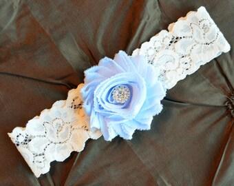 Wedding Garter, Bridal Garter, Ivory Lace Garter, Toss Garter, Something Blue, Light Blue Wedding Garter, Baby Blue Wedding Garter