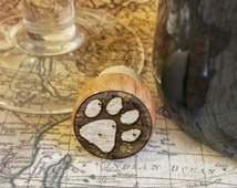 ON SALE Dog Paw Wine Stopper, Handmade Paw Print Wood Cork, Dog Lover Bottle Stopper, Housewarming Gift,  Puppy Wood Cork Stopper