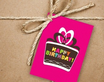 9 Happy Birthday Gift Tags, Bright Pink Birthday Greetings 2.5 x 3.5 Hang Tag, Product Tag With Jute Twine, Style 6
