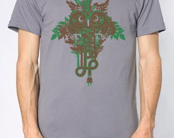 Electric Forest Festival T-shirt, Brown and Green Owl on Gray shirt, Men's