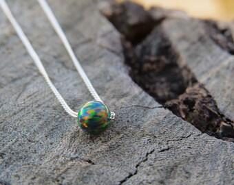 Black Opal necklace, opal ball necklace, opal silver necklace, opal jewelry, tiny dot necklace opal bead necklace dot necklace black opal