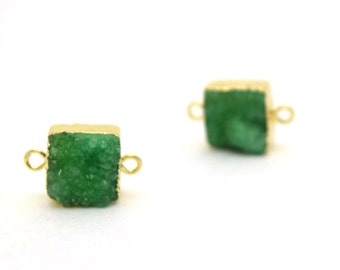 Emerald Druzy Connector Bead | Green Gold Plated Connector | 12mm - 16mm Square Druzy Connector