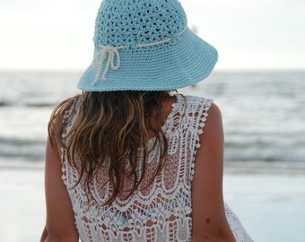 crochet beach summer hat, garden tea party hat, off white cotton womens hat, beach hat, hat with brim, hat with bow, ready to ship