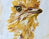 skittles the ostrich, ostrich, gold ostrich, safari, animal kingdom, aviary, bird, bird painting, nursery art, fine art, acrylic painting