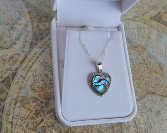 Heart Necklace, Abalone Necklace, Abalone Shell Necklace, Heart Pendant Necklace, Abalone Jewelry, Ladies Necklace, Womens Jewelry