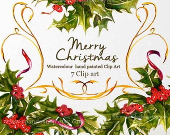Watercolor Christmas clipart, holiday clipart, winter clipart, holly, christmas instant download, png file 300 dpi, greeting card diy, art