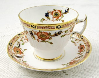 Phoenix China Tea Cup and Saucer Imari Style, Art Deco, Vintage Bone China