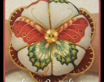 Handmade Flower Wrist Pin Cushion - Ornate Butterfly Red