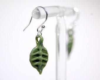 Small Glass Earrings - Khaki Dark Green- Sterling Silver - Handmade
