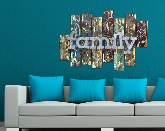 FAMILY sign wall ART Reclaimed barn red pallet WOOD artwork Abstract paint splash Large Industrial Metal Home Decor Distressed Handmade Love