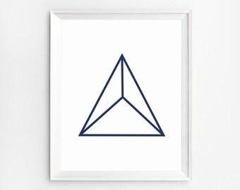 Scandinavian Wall Art, Modern Art, Geometric Poster, Pyramid Art, Triangle Wall Art, Geometric Print, 3D Print, Home Decor, Instant Download