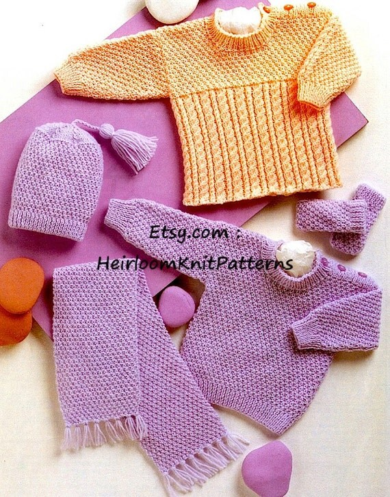 Baby Sweaters Hat Mitts Scarf Vintage Knitting Pattern DK/