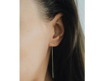 Threader Bar Earrings - Gold Chain Earrings - Delicate Thread earrings - Bar Chain earrings