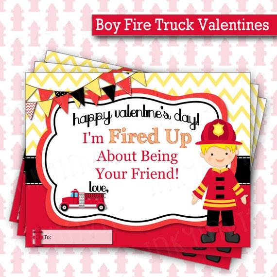 Boy Fire Truck Valentines Day Cards – Boy Valentine Cards