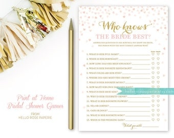 Pink and Gold Bridal Shower Games . Who Knows the Bride Best . Bridal Shower Games Printable Instant Download . Glitter Confetti Hearts