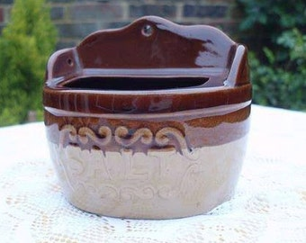 Vintage Brown Glaze Salt Pig