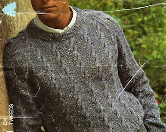 "mens sweater knitting pattern PDF mens cable sweater crew neck jumper 34-44"" DK light worsted 8 ply mens knitting pattern PDF download"