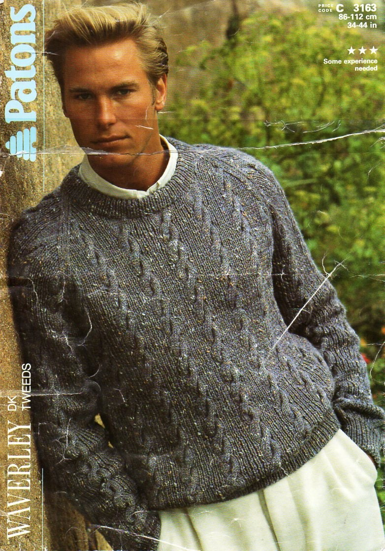 mens sweater knitting pattern PDF mens cable sweater crew neck