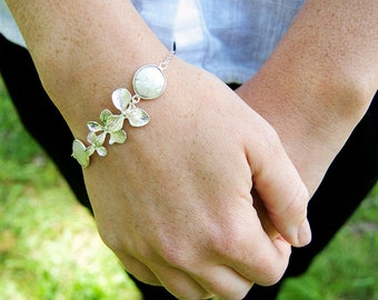 Freshwater Pearl and Silver Orchid Flower Bracelet