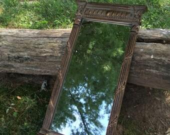 Renwil Mirrors, Wall Mirrors (22 by 11) Shabby Chic Mirror, Corinthian Small Gold Column Mirror, Decorative Roman Columns, Gold Mirror