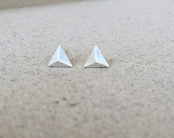Silver Triangle Pyramid Earring Studs.
