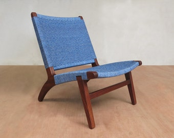 Mid Century Chair, Accent Lounge Chair, Walnut Frame Handwoven Blue Chair, Comfortable Danish Modern Sustainably Sourced Tropical Hardwoods
