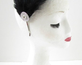 Black Silver Diamante Feather Fascinator Headband Headpiece Rhinestone 1920s Z03
