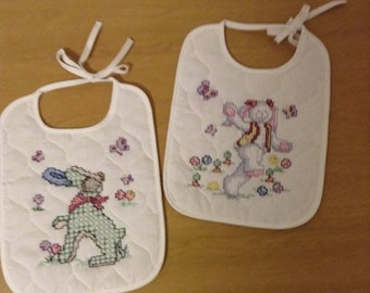 Cross stitched Bunny Bibs- Rabbit- Easter- Spring