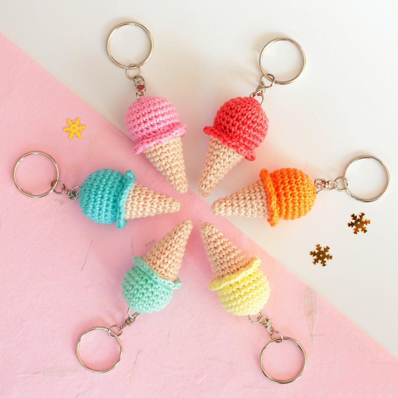 Crochet Keychain : Ice cream keychain Crochet keychain Amigurumi keychain