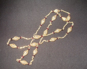 1920s Moraco Gold over Sterling Silver Filigree  and Garnet Necklace