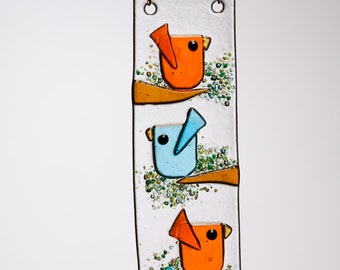 Trio Birds in Orange and Aqua Handmade Fused Glass Suncatcher Ornament