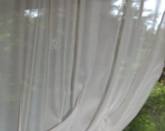 Set of Two or One Sheer Window Curtain 30'' Wide Each Custom Length in Light Ivory/Cream or White Voile