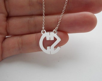 Tiny Monogram Necklace Sterling Silver,5/8 inch Small Monogram Block Necklace,2 Letters Nameplate Monogrammed Jewelry,Circle Necklace