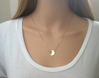 Hammered gold circle necklace; 14Kt gold-filled sun necklace; gold disc necklace; large hammered disc necklace