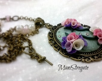 necklace cameo roses handmade polymer clay and crystals
