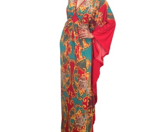 Plus Size Maxi Kaftan Dresses Green Yellow Red Flower Color Dress Wedding Party Baby Shower Dress