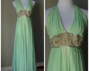 1970s Mint Green Formal Floor Length Chiffon Dress